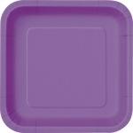 14 quadratische Papp Teller Lila Pflaume