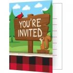 8 Wald Tiere Einladungskarten Holzfäll-Bär