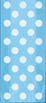 20 Zellophantütchen Hellblau mit Punkten