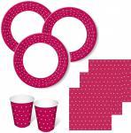 60 Teile Party Set Himbeere mit weißen Punkten für 20 Personen