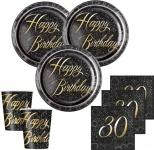 32 Teile edles Party Deko Set zum 30. Geburtstag in Schwarz Gold foliert für 8 Personen