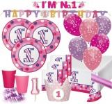 XXL Party Deko Set 1. Geburtstag Punkte und Streifen in Pink für 16 Personen