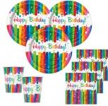 48 Teile Party Deko Set Regenbogen Geburtstag für 16 Personen