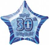 30. Geburtstag Glitzer Folien Ballon Blau
