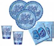 48 Teile zum 40. Geburtstag Party Set in Blau für 16 Personen