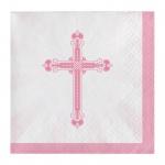 36 kleine Servietten rosa Kreuz