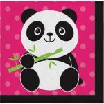 16 kleine Servietten Pink Panda Bär