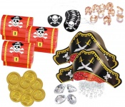89 Teile Piraten Schatzsuche Set 8 Personen für die Schatzsuche zum Kindergeburtstag - Schatzkiste, Piratenhüte, Party Deko