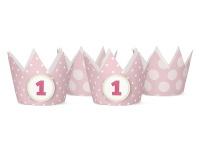 4 Party Krönchen Rosa + inkl. 4 Aufkleber zum 1. Geburtstag
