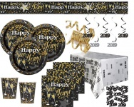XXL 41 Teile 2019 Silvester und Neujahrs Glittering Gold Happy New Year Deko Set für 8 Personen