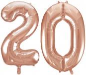 Folien Ballon Zahl 20 in Rosegold - XXL Riesenzahl 86 cm zum 20. Geburtstag