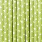 10 Papier Trinkhalme apfel grün weiß gepunktet