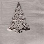16 edle Stanz Servietten mit Tannenbaum in Silber