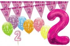 2. Geburtstag Pink XXL Folienballon + Girlande + Luftballons + Kerze Deko Set - Zwei