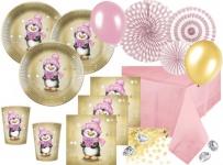 XL 79 Teile Pinguin Mädchen in Rosa und Gold Deko Set für 16 Personen
