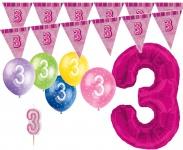 3. Geburtstag Pink XXL Folienballon + Girlande + Luftballons + Kerze Deko Set - Drei