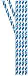 24 Papier Trinkhalme Cobalt Blau und Weiß gestreift