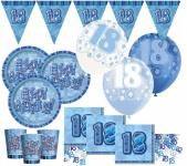 56 Teile zum 18. Geburtstag Party Set in Blau für 16 Personen