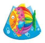 8 Party Hütchen bunter Fisch