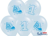 6 Erster Geburtstag Pastell Blau Luftballons