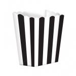 5 kleine Popcorn Boxen Schwarz Weiß gestreift
