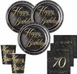 32 Teile edles Party Deko Set zum 70. Geburtstag in Schwarz Gold foliert für 8 Personen