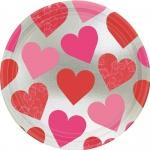 8 Teller Herzchen rosa und rot Key to your Heart metallic