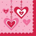 16 kleine Servietten hängende Herzchen