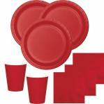 52 Teile Party Deko Set Klassisch Rot für 16 Personen