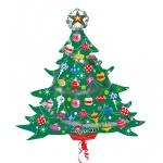 Folien Ballon mit Metallic Effekt Weihnachtsbaum