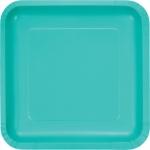18 quadratische Papp Teller Lagunen Blau