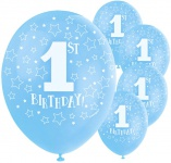 5 hellblaue Luftballons Erster Geburtstag Zahl 1