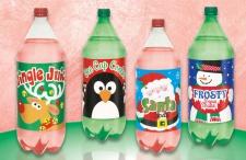 4 große Flaschen Etiketten mit Weihnachts Motiven