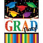 8 Abi Examen Einladungskarten buntes Festival