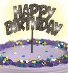 Happy Birthday Glitzer Tortenpick Schwarz