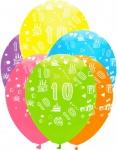 6 bunte Luftballons zum 10. Geburtstag