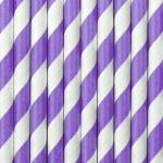 10 Papier Trinkhalme lila weiß gestreift