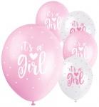 It's a Girl 5 Luftballons in Weiß und Rosa
