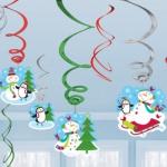 12 Swirl Girlanden Schneemann Freude
