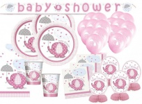 XXL 68 Teile Baby Elefant in Rosa Babyshower Set für 16 Personen