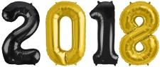 Folien Ballon Zahl 2018 in Gold & Schwarz - XXL Riesenzahl 86 cm zum Silvester, Neujahr, Jahreszahl