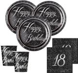 32 Teile edles Party Deko Set zum 18. Geburtstag in Schwarz Silber foliert für 8 Personen