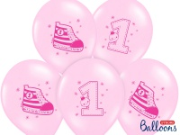 6 Erster Geburtstag Pastell Rosa Luftballons