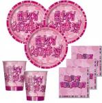 48 Teile Happy Birthday Geburtstag Party Set Pink 16 Personen