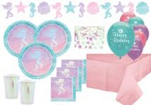 XL 41 Teile schimmernde Meerjungfrau irisierend Deluxe Party Deko Set für 8 Kinder