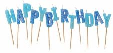 Happy Birthday Glitzer Kerzen Picks Blau