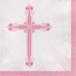 36 Servietten rosa Kreuz