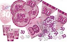 56 Teile zum 30. Geburtstag Party Set in Pink für 16 Personen