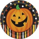 8 Halloween Teller lachender Kürbis