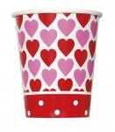 8 Pappbecher kleine Herzchen zum Valentins Tag